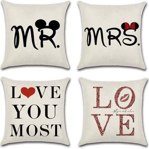 4 Mr Mrs Right Love You Most Throw Pillow Covers